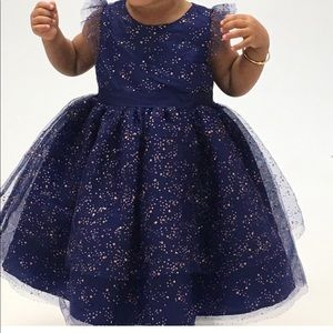 Janie and Jack blue and gold dress 2T